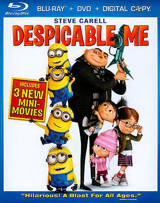 Despicable Me (Blu-ray/DVD, 2010, 3-Disc Set, )  Shipping Free