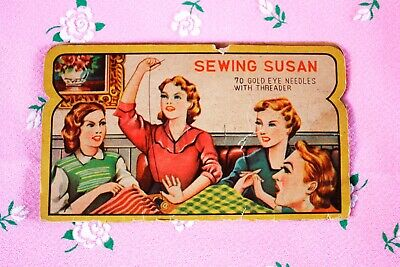 Vintage 1950s Sewing Susan Needle Book with threader,japanese,mid century modern