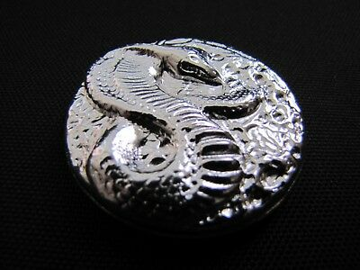 HACMint 3.6 oz 999+ Fine Silver COBRA SNAKE Hand Poured BAR COIN ROUND