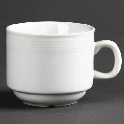 Olympia Linear Stacking Tea Cups Made of Porcelain in White - 200ml Pack of 12