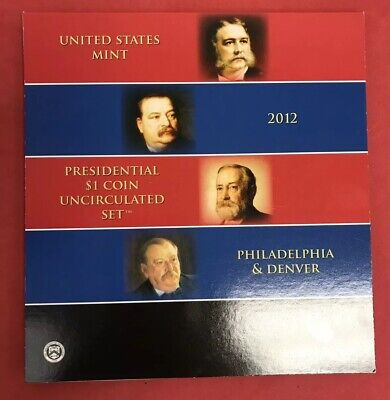 2012 Presidential $1 Coin Uncirculated Set 8 Golden BU Dollars US Mint Opened