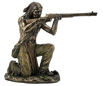"8.5"" Indian Warrior Shooting Rifle Native American Statue Decor Figure Figurine"