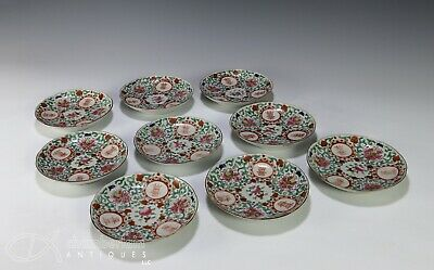 Set of 9 Antique Chinese Porcelain Plates with Characters