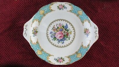ROYAL ALBERT LADY ASCOT Floral Peony Gold Trim BLUE Bone China CAKE PLATE