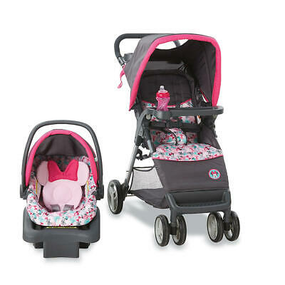 Disney Simple Fold Travel System Minnie Bowtiful BABY STROLLER CARSEAT COMBO NEW