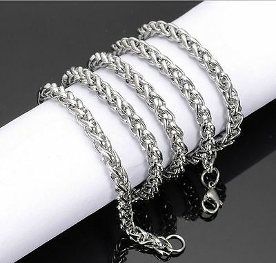 Braided Wheat Chain 3-6MM Men Silver/Gold/Black Stainless Steel Necklace Jewelry