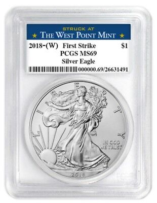 2018 silver eagle first strike PCGS MS 69 Struck at the  West Point Mint 5