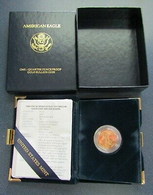 2000 $10 American Eagle 1/4 Oz Gold Proof Coin W/Box & COA