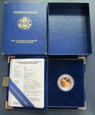 1989 $10 American Eagle 1/4 Oz Gold Proof Coin W/Box & COA
