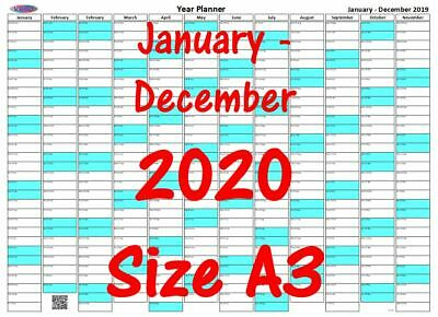 Portrait Red A3 year planner 1st January December 2020 Wall Calendar Chart