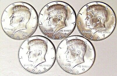 1965-1969 Kennedy Half Dollar Set Includes Business 40% Silver 5 Coins - Free/s