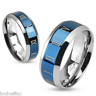 Cool Mens Womens Blue Ip Stainless Steel Roman Numeral Beveled Edge Band Ring