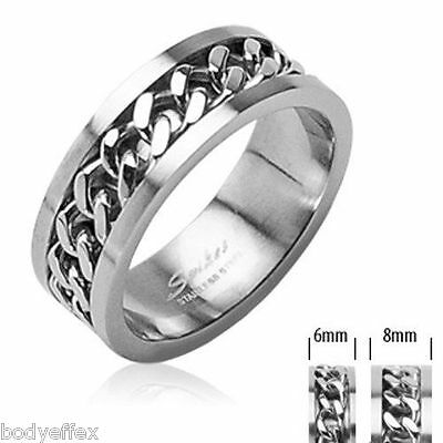 Nice Mens Womens 316L Stainless Steel Silver Wedding Band Ring W/Spinning Chain
