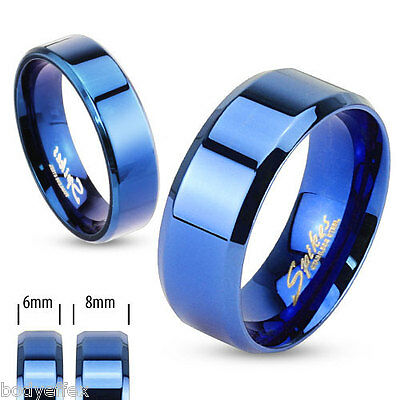 Hot Mens Womens Blue Ip Over Stainless Steel Beveled Edge Flat Wedding Band Ring