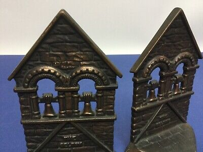 """Vintage matching Pair Cast iron Connecticut Foundry """"The Belfry"""" Bookends 1928"""