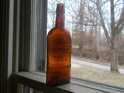 "Dr.fenner's Kidney & Backache Remedy Dated 1898 Amber 8 1/2""Small Size Bottle"