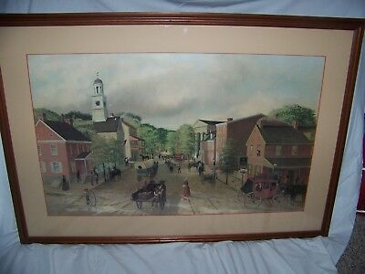"Barclay Rubincam(1920-1978)Artist PA, Large Litho ""Looking North on High Street"""