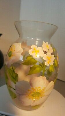 Collectable glass vase Teleflora  - Hand Painted Pink Roses and Bees