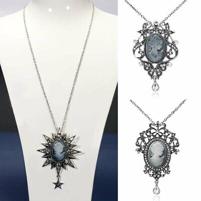 Vintage Cameo Crystal Rhinestone Pendant Necklace Ladies Silver Chain Jewelry