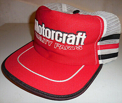 Vintage FORD MOTORCRAFT MESH Snapback Trucker Hat Cap Made in USA 3 SIDE  STRIPE b7ae9d127a3f