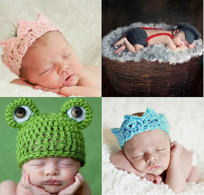 Newborn Babies Unisex Knitted Hats Caps Headband Wrap Costume Outfits Set Prop