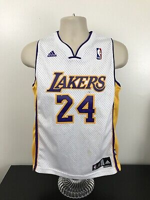 d96996ad4 Adidas Los Angeles Lakers Kobe Bryant White 24 Jersey Youth Size L Large +2  LA