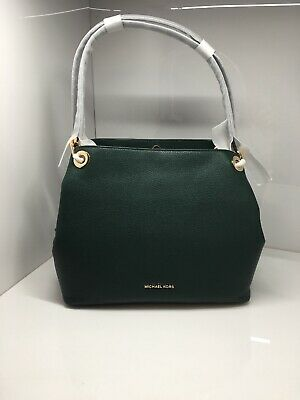 be8ff5a88de9 Michael Kors Raven Large Leather Shoulder Bag Racing Green 30H6GRXE3L NWT