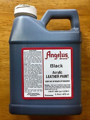 Angelus Black Acrylic Leather Paint 16 oz/1 Pint