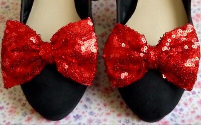 "New Pair Ruby Red Sequin Fabric Sparkle Shoe Bows 3"" Bow Clips Retro Style Party"