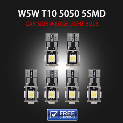 6pcs T10 168 194 W5W 5 SMD Led Canbus Error Free Car Side Wedge White light Bulb