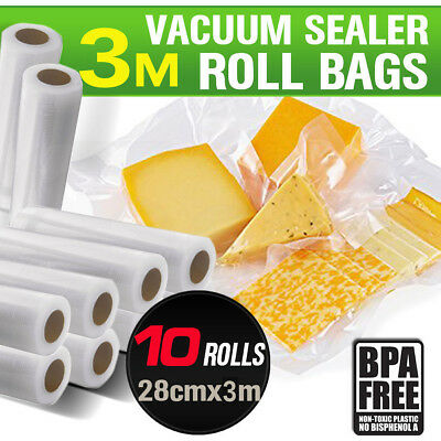 10x Vacuum Food Sealer Bags Roll Saver Storage Seal Heat Commercial 3m 28cm Wide