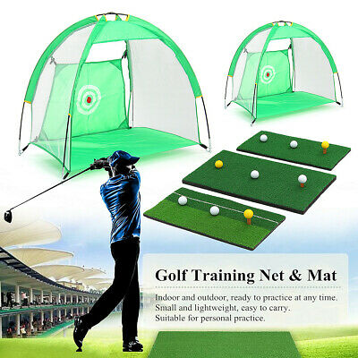 Golf Hitting Cage Practice Net Trainer +Training Mat With 3 Balls & Tee Foldable