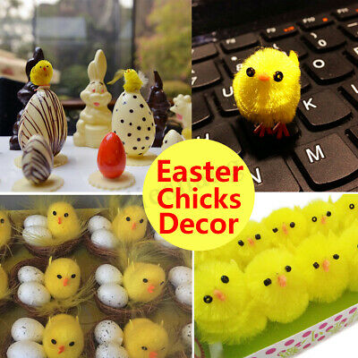 10Pcs Furry Baby Chick Lifelike Plush Fur Animal Easter Decor Chicken Home Decor