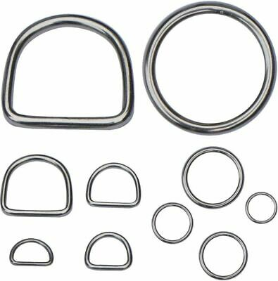 Stainless Steel D-Rings & O-Rings Welded Buckles for Webbing Leather Craft Sets