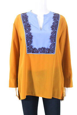 1f1f6a941717 Tory Burch Womens Silk Claire Tunic Blouse Golden Multi Colored Size 6  11023181