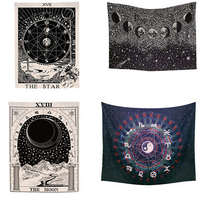 The Moon Star SUN Medieval Europe Divination Wall Tapestry Hanging Home decor US