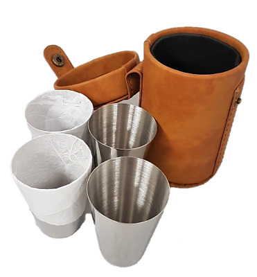 4 Travel Liquor Shot Glasses Brown Camping Carry Case Faux Leather Drink Holder