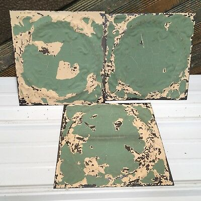 "3pc 12"" x 12"" Wreath Antique Ceiling Tin Vintage Reclaimed Salvage Art Craft"