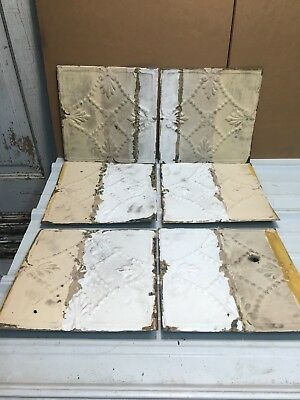"6pc Lot 11.5"" by 11.5"" Antique Ceiling Tin Metal Reclaimed Salvage Art Craft"
