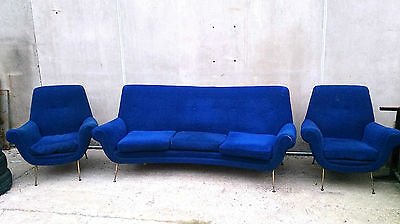 Amazing Set Mid Century Italian Sofa And Two Armchairs - Attributed To Gio Ponti