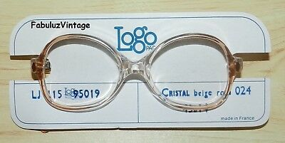 Old Frame France Nos Vintage Glasses Kid Logo Paris 125 Crystal Beige Pink 024