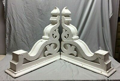 Pair Extra Large Antique White Roof Corbels Cornice Shabby Vtg Chic Old 54-19M