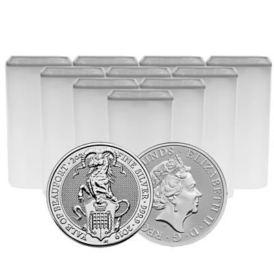 Lot of 100 - 2019 U.K. 5 Pound Silver Queen's Beast Yale of Beaufort .9999 2 oz