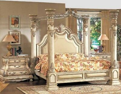 Victorian Antique White Luxury California King Poster Canopy Bed & 2 Nightstands