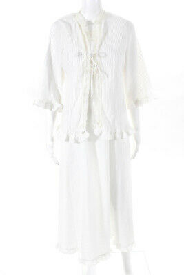 57eda3446b Christian Dior Lingerie Womens Lace Trim Nightgown Set White Beige Size  Small