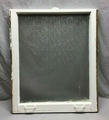 Antique Privacy Glass Window Sash Shabby Vintage Old Chic 29X34 303-19C