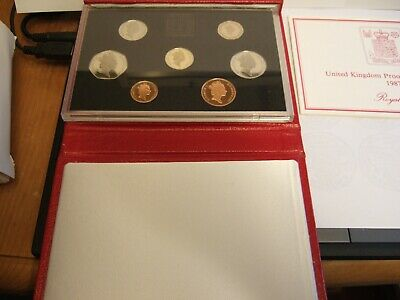 NEW 1987 DELUXE Royal Mint UK PROOF Coin Set RED Leather Wallet!