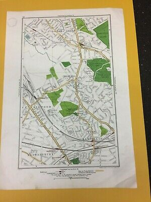 Vintage Map Geographia 1923 Golders Green Childs Hill Cricklewood West Hampstead