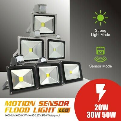 PIR Motion Sensor LED Floodlight 20W/30W/50W Outdoor Security Flood Light Wall