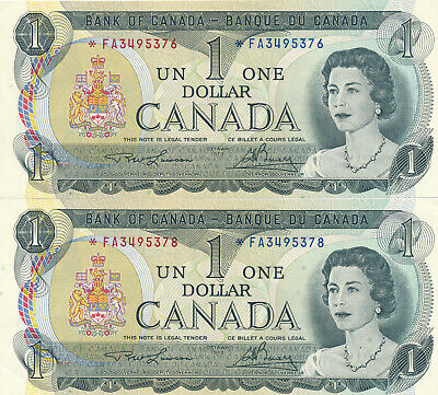 Bank Of Canada Lot Of 2 Replacement 1 Dollar 1973 - Au